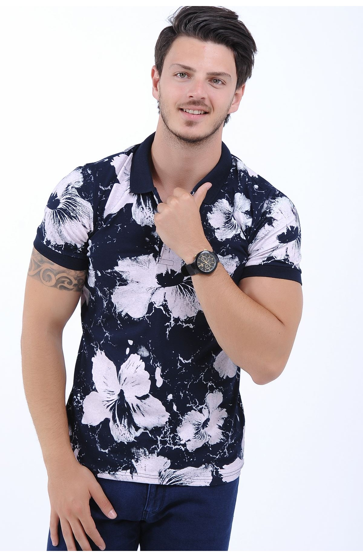 فروش تیشرت جدید گل گلی مردانه آستین بلند ۹۸