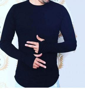 خرید تیشرت آستین انگشتی مردانه یقه گرد جدید